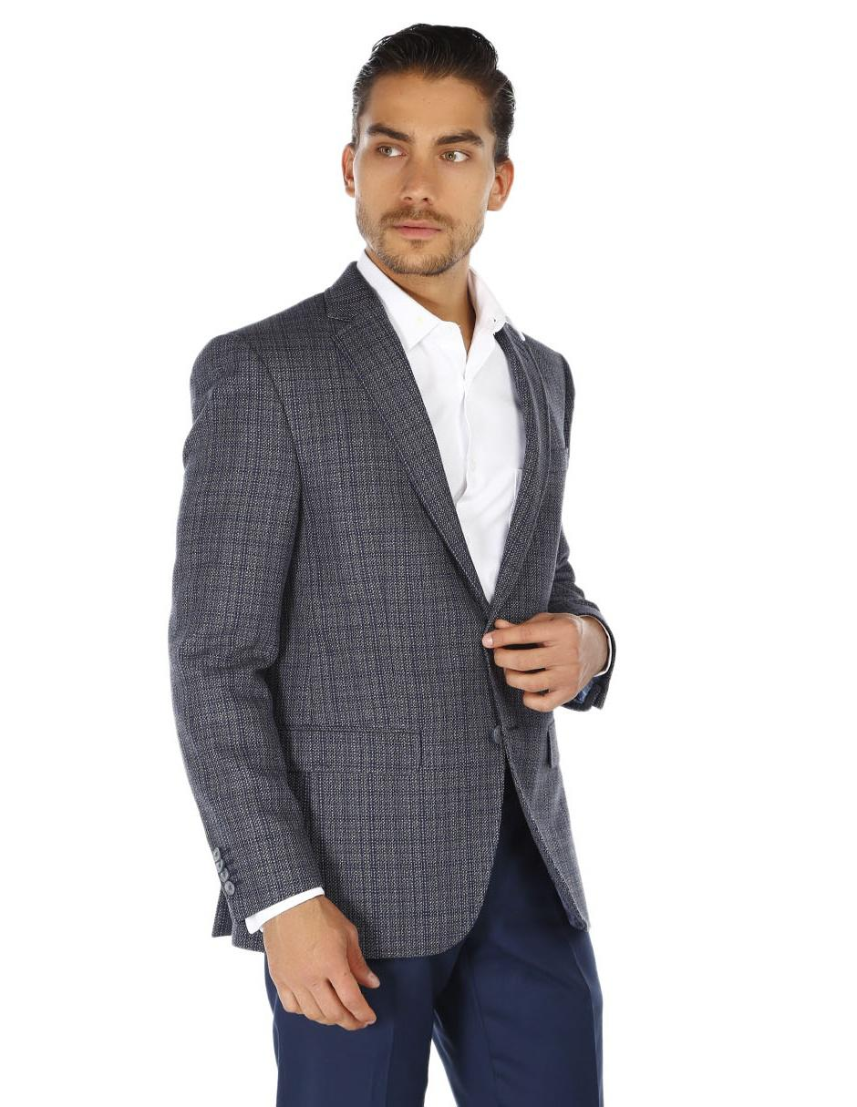 c967ba409 Saco de vestir Daniel Hechter corte regular fit azul con diseño gráfico
